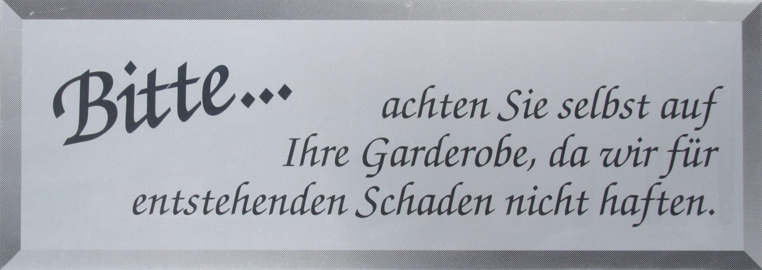 """Schild """"Garderobe"""""""